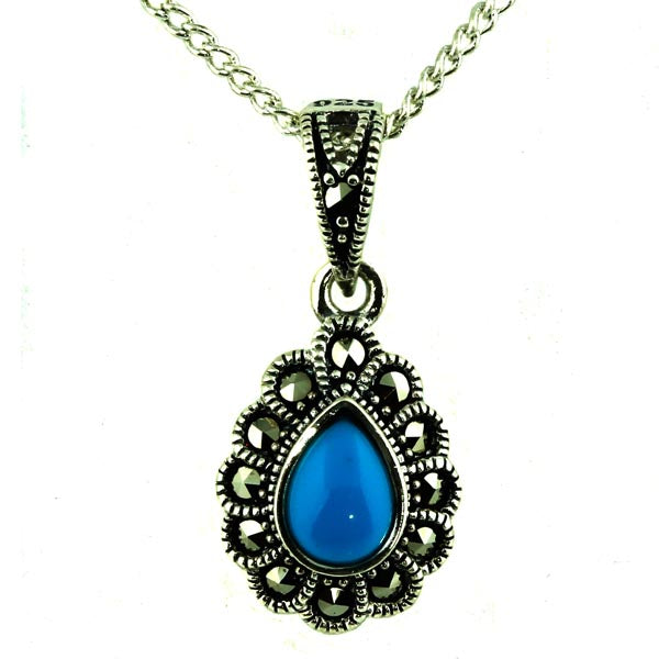 Natural Turquoise and Marcasite Silver Pendant