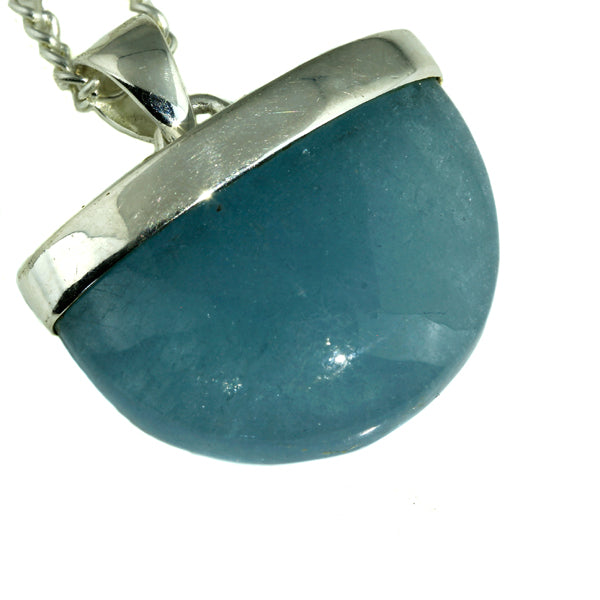 Aquamarine Silver Shield Pendant