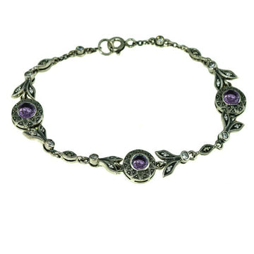 Purple Amethyst Marcasite Silver Bracelet - What Women Want Jewellers