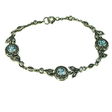 Blue Topaz Marcasite Silver Bracelet - What Women Want Jewellers