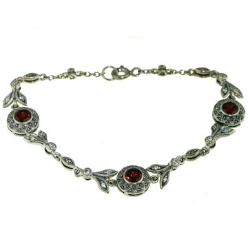 Red Garnet Marcasite Silver Bracelet - What Women Want Jewellers