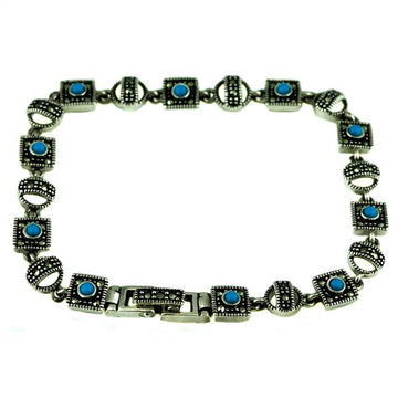 Natural Turquoise and Marcasite Silver Bracelet - What Women Want Jewellers
