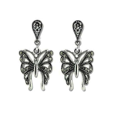 Silver and marcasite Butterfly Earrings - What Women Want Jewellers