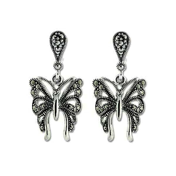 Silver and marcasite Butterfly Earrings
