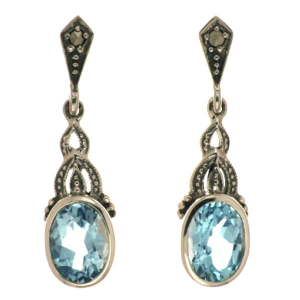 Blue Topaz and Marcasite Drop Earrings - What Women Want Jewellers