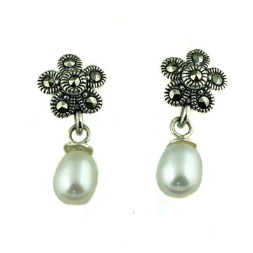 Flower Pearl Marcasite Stud Earrings - What Women Want Jewellers