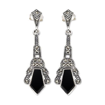 Art Deco Style Onyx Drop Earrings - What Women Want Jewellers