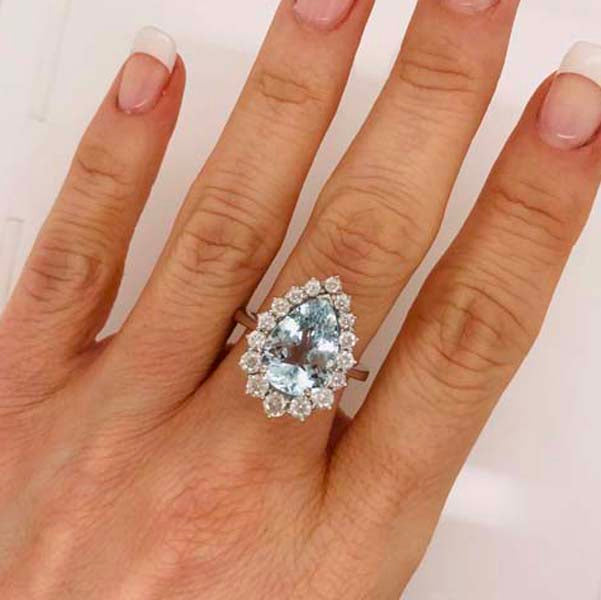Pear shape aquamarine diamond white gold engagement ring
