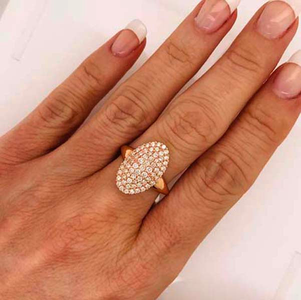 Large cluster diamond rose gold ring