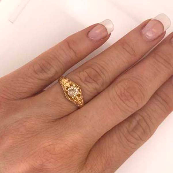 Antique Diamond Engagement Gold Dome Ring