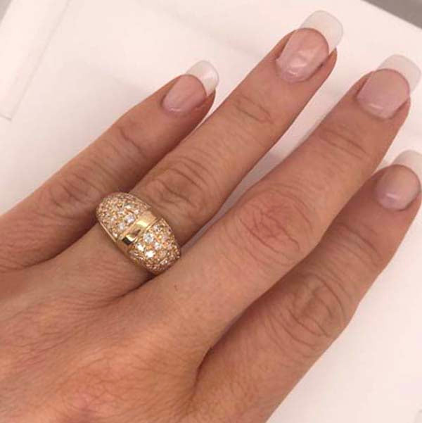 Dome ring with diamonds