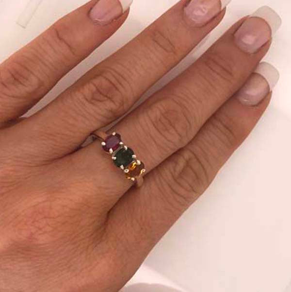 Red, green and golden Tourmaline Sterling Silver Ring