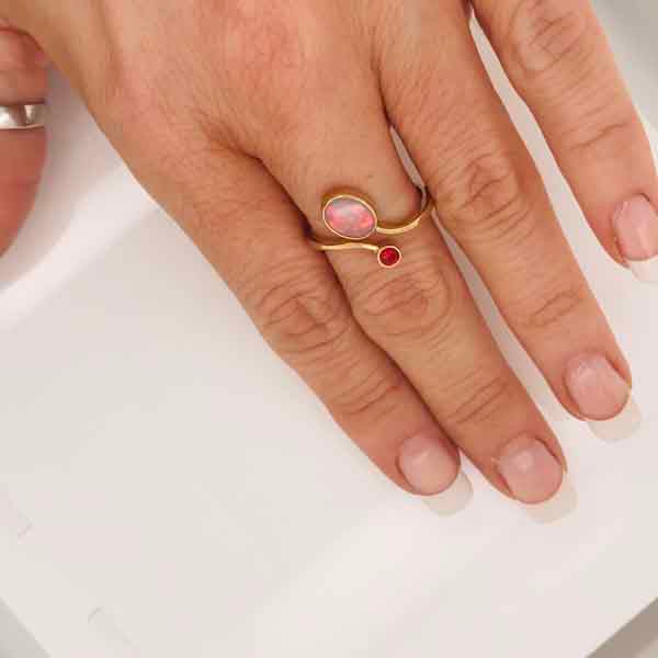Opal ruby gold ring - What Women Want Jewellers
