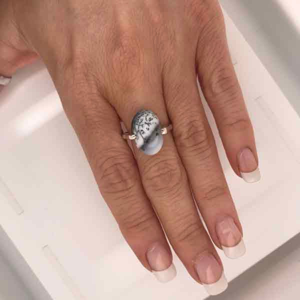 Raw oval dendritic opal silver ring - What Women Want Jewellers