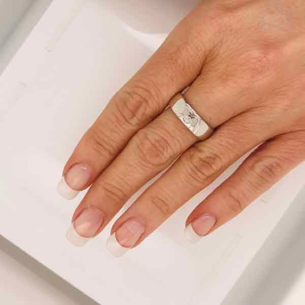 Kissing band white gold ring