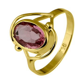 Oval Pink Tourmaline Gold Dress Ring