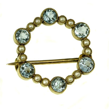 Antique Aquamarine and Seed Pearls Brooch