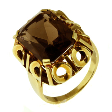 Vintage large Smoky Quartz Gold Ring
