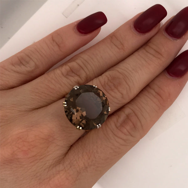Vintage Smokey Quartz Gold Dress Ring - What Women Want Jewellers