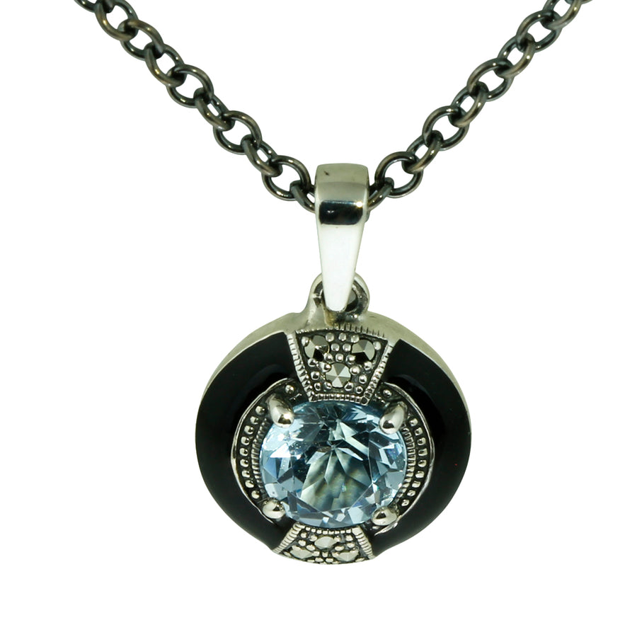Round Blue Topaz and Marcasite Silver Necklace - What Women Want Jewellers