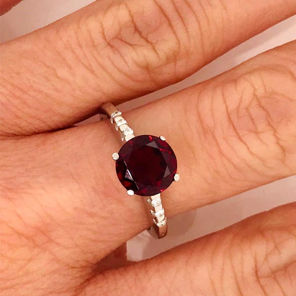 Faceted Red Garnet and Diamond Gold Ring - What Women Want Jewellers