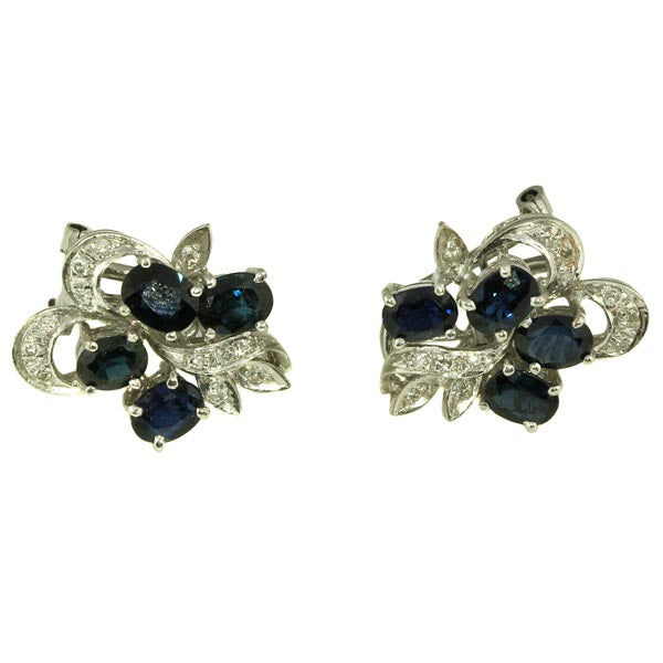 Australian Blue sapphire diamond Stud Earrings