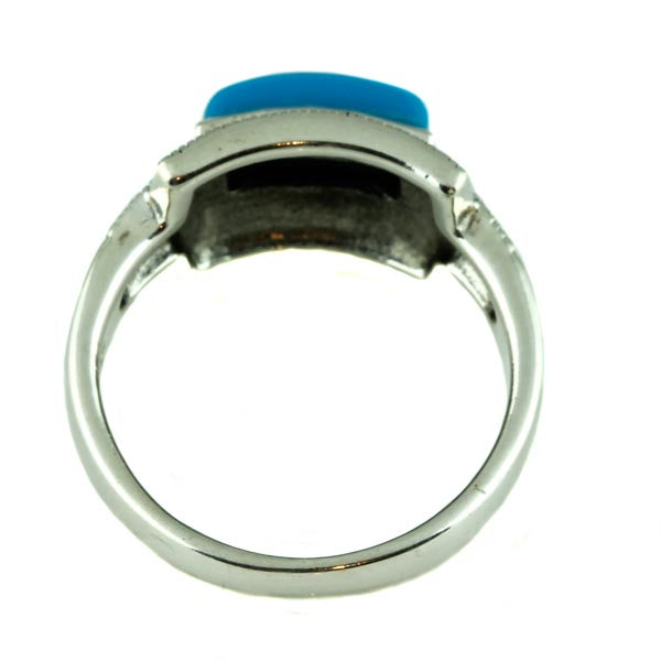 Natural Turquoise Marcasite and Silver Ring - What Women Want Jewellers