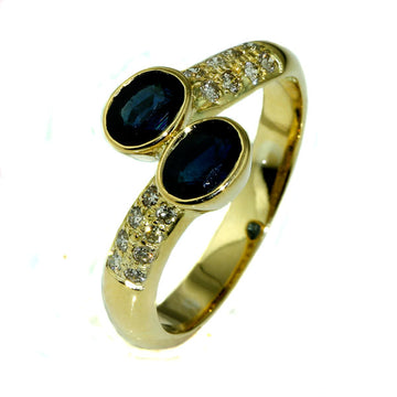 Handmade Crossover Australian Blue Sapphire Ring - What Women Want Jewellers