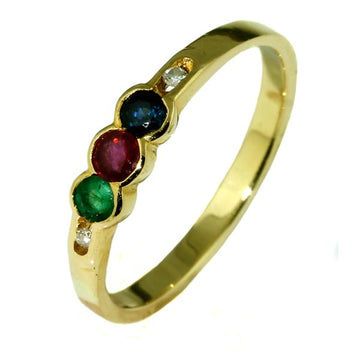 Vintage 3 Gemstone Gold Ring