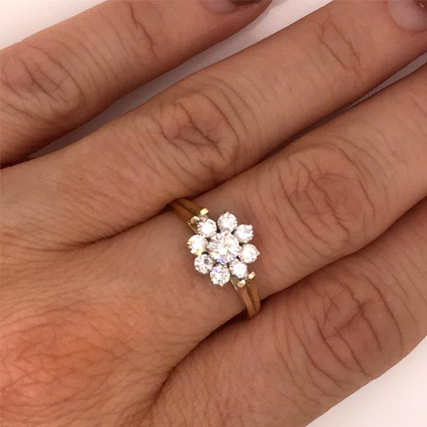 Diamond Daisy Cluster Gold Ring - What Women Want Jewellers