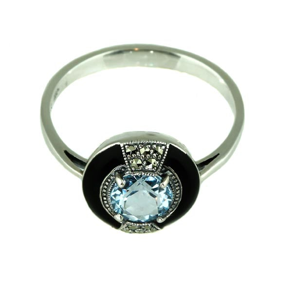 Round Blue Topaz with Enamel Silver Ring - What Women Want Jewellers
