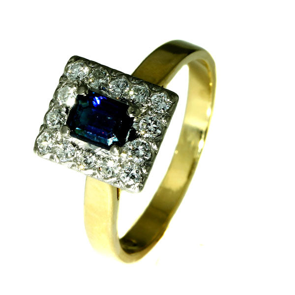 Rectangular Australian Blue Sapphire Cluster Ring - What Women Want Jewellers