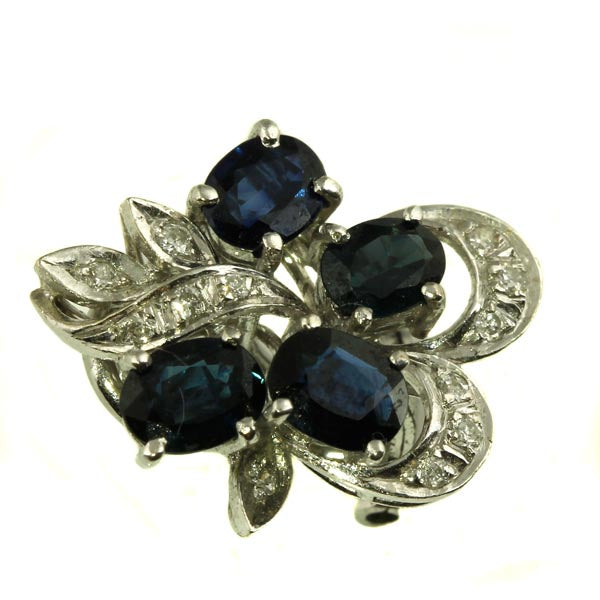 Blue Australian Sapphire Diamond Stud Earrings