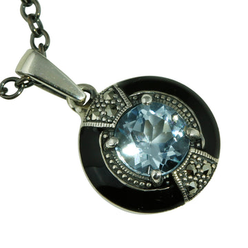 Round Blue Topaz and Marcasite Silver Necklace