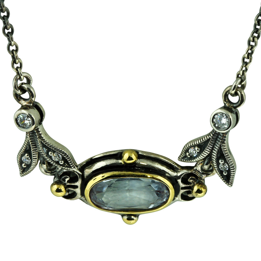 Art Deco Style Silver Blue Topaz Necklace - What Women Want Jewellers