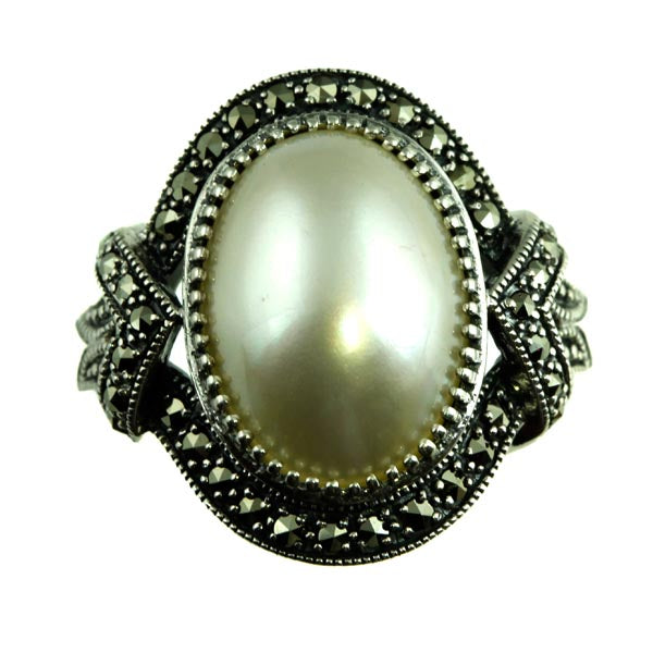Oval Mabe Pearl Marcasite Silver Ring - What Women Want Jewellers