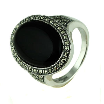 Oval Onyx and Marcasite Silver Ring