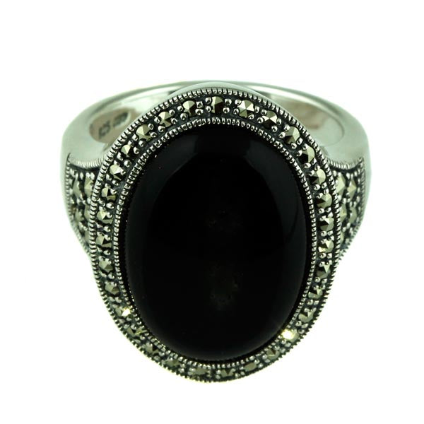 Oval Onyx and Marcasite Silver Ring - What Women Want Jewellers