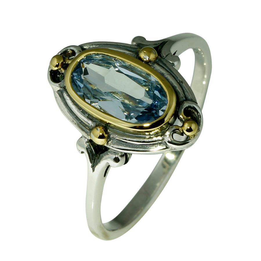 Art Deco Look Blue Topaz Silver Ring - What Women Want Jewellers