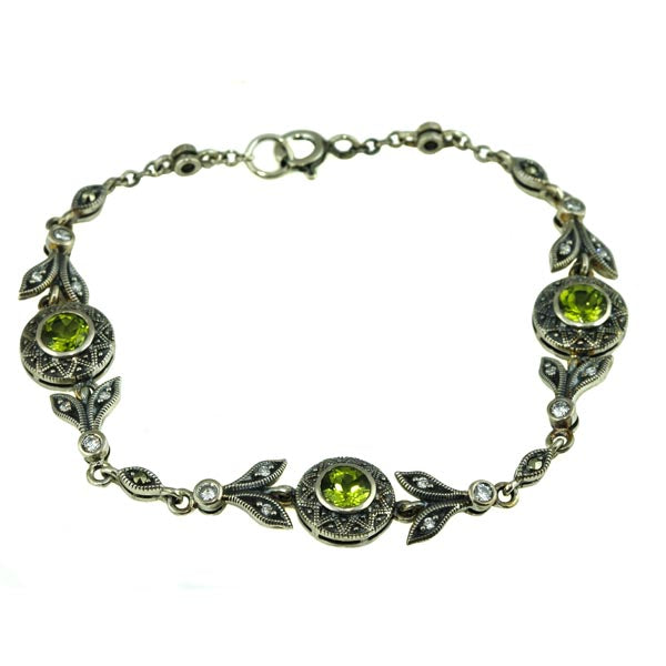 Green Peridot Marcasite Silver Bracelet - What Women Want Jewellers