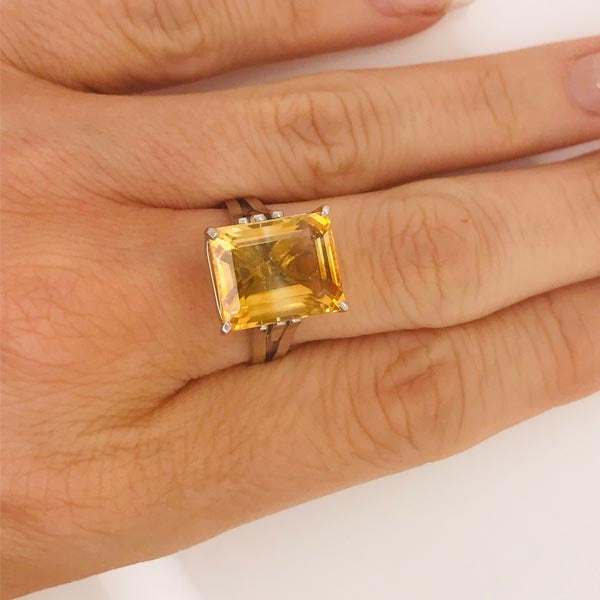 Large Golden Citrine Ring - What Women Want Jewellers