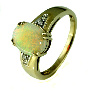 Oval Orange Australian Solid Opal Ring