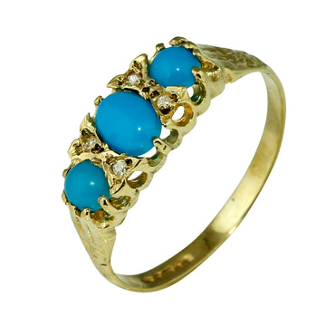 Vintage Turquoise and Diamond Gold Ring - What Women Want Jewellers
