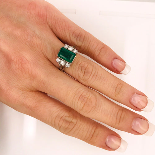 Square emerald diamond white gold engagement ring