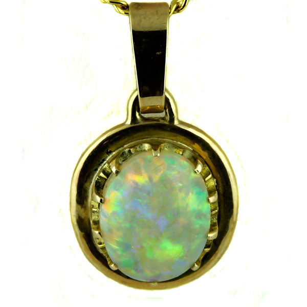 Solid Australian Crystal Opal Gold Pendant