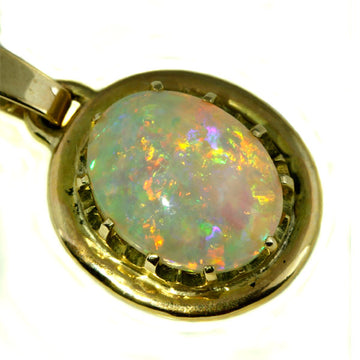 Solid Australian Crystal Opal Gold Pendant - What Women Want Jewellers