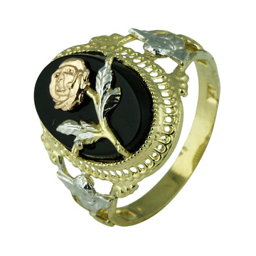 Vintage Style Onyx and Rose Ring - What Women Want Jewellers