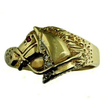 Ruby Eye Gold Horse Head Ring - What Women Want Jewellers
