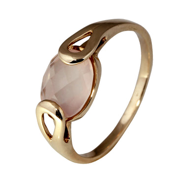 Rose Gold Ring with Oval Rose Quartz
