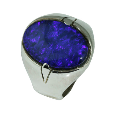 Oval Blue Opal Silver Mens Ring - What Women Want Jewellers